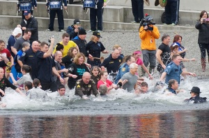 "King County Sheriff John Urquhart and Chief Deputy Anne Kirkpatrick take the ""plunge"" for a good cause."